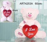 Orso di colore rosa del regalo del biglietto di S. Valentino che trasporta cuore rosso
