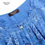 Las muchachas de Srta. You Ailinna 102573 lavaron la alineada maxi azul ocasional del dril de algodón