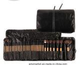 Mini insieme di spazzola cosmetico di trucco di spazzola dell'insieme del nero di colore rosa della maniglia di legno sintetica professionale dei capelli 32PCS