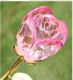 El cristal al por mayor caliente hace la flor de cristal de Rose a mano del vástago largo
