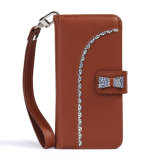 Caixa Shining do couro da carteira de Bling da qualidade com decoração extravagante