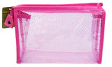 Sacs cosmétiques roses de PVC de maille de promotion