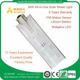 李電池が付いている30W LEDランプのためのオールインワン太陽街灯