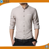 Camisa de alineada larga de la funda de la camisa de lino de la manera de los hombres del OEM de la fábrica