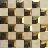 Mosaïque de marbre en pierre normale mélangée en métal pour le carrelage (FYSM109)