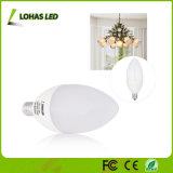Economia de energia E12 6W candelabros brancos quentes luz de lâmpada de vela LED