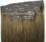 (で)人間の毛髪の拡張のデラックスな100-220gram一定クリップ