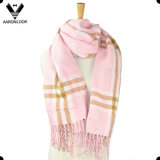Padrão acrílico Fashion Plaid Pattern Big Pocket Shawl Scarf