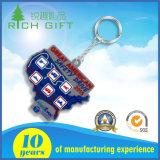Chaîne principale molle promotionnelle de PVC de la coutume 3D de primes de cadeaux pour l'événement de souvenir