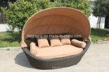 Cama redonda de la cama de la cama del rattan de la roca Sunbed Muebles al aire libre