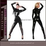 Черное кожаный женское бельё Catsuit PVC женщины кота Fullbody комбинезона (TYLM115)