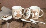 Tazas de cerámica de la etiqueta animal linda caliente de la venta con la cuchara