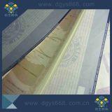 Papier de garantie de estampage chaud de filigrane d'imprimante de garantie de Dongguan