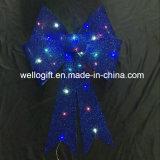Gold Glitter LED Bow com apoio de PVC