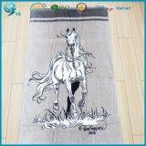 Impression 100% animale faite sur commande d'essuie-main de plage de modèle de cheval de velours de coton