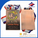 Médaille de sport d'en cuivre d'argent d'or d'antiquité de médaille de volleyball avec la bande