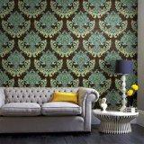 Papier peint gravé en relief décoratif de luxe bon marché et fin de mur intérieur de revêtement de mur de modèle de fleur