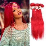 Pelo recto del pelo rojo humano del color que teje la extensión del pelo humano de Remy