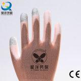 guante cubierto PU rosado del trabajo de la seguridad de la pantalla táctil del dedo del shell del nilón 13gauge o del poliester (PU2007)