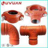 Conector de codo de hierro dúctil listado UL FM para montaje de tubería