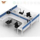 현대 똑바로 시트 4개 L 모양 사무실 분할 워크 스테이션 (HY-254)