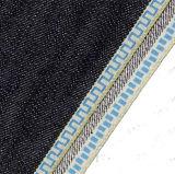 ткань джинсовой ткани края золота 12.8oz вышитая Sequin на джинсыы 105