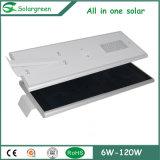 15W--réverbère 120W solaire avec le panneau solaire, le contrôleur et la batterie