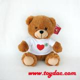 Giocattolo bianco dell'orso della maglietta della peluche