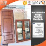 Il portello interno ha personalizzato il portello di legno provvisto di cardini del portello, portello francese solido di legno di quercia rossa della Rotondo-Parte superiore con Ce