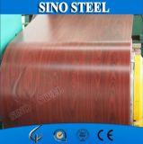 Aço galvanizado pré-pintado com grão de madeira de venda quente em bobina