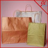 Sacs en papier métalliques de Brown Papier d'emballage de sacs à provisions de Papier d'emballage d'encre