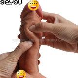 Echte het Voelen van Dildos van het Geslacht van Doll van het Geslacht van Dildo van de Vrouwen van het Speelgoed van het Geslacht van de Penis van de dubbel-laag Echte Kunstmatige Volwassen Haan