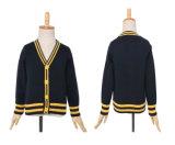 Uniforme del cardigan del banco dei capretti dei ragazzi lavorata a maglia cavo all'ingrosso del V-Collo