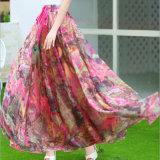 Falbala를 가진 꽃 인쇄된 우산 긴 치마