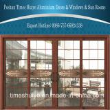 装飾的なガラスパネルが付いている従来の木製の穀物のアルミニウム引き戸