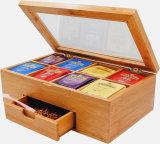 Sujetar con cinta adhesiva el rectángulo de bambú del té de la cubierta de acrílico de la partición del cajón 8