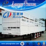 3 le bétail à plat de service de l'essieu 60t clôture la remorque de camion de cargaison semi