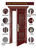 Porte en acier de sécurité pour l'extérieur (noir et rouge-brun)
