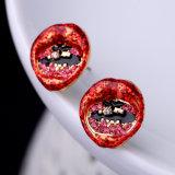 새로운 형식 Retro 열등한 개성 빨간 입술 장식 못 귀걸이 보석