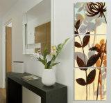 3 fiori della pittura a olio di arte della parete del comitato che verniciano la tela di canapa domestica della decorazione stampa le maschere per il salone Mc-256