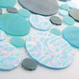 Mosaico azul del vidrio manchado del azulejo de la pared del verde de mar del precio de fábrica