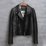 新しいデザインオートバイのジャケットの本革の不足分のジャケットの女性