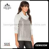 짜개진 조각 Matellic 입히는 Ribbed 긴 소매에 의하여 뜨개질을 하는 자라목 스웨터 스웨터