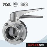 Manual de acero inoxidable higiénico válvula de mariposa soldada (JN-BV1011)