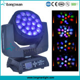 RoHS 19 * 15W RGBW DMX LED Feixe Moving Head DJ Luz