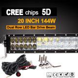 """CREE 5D da barra clara do trabalho do diodo emissor de luz (20 """", 144W, IP68 Waterproof)"""