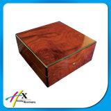 Rectángulo de madera de gran tamaño de lujo del modelo rojo marrón de la vendimia para el solo empaquetado del reloj