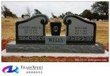 De donkerbruine Rechte Grafsteen Gesneden Engelen van het Graniet en het Monument van de Combinatie van de Vaas