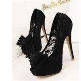 Beau santal de chaussures de femmes de talons hauts de pompe de lacet
