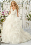 Mori Lee nach Maß Hochzeits-Kleid der Spitze-Satin-Prinzessin-Ruffle (Dream-100049)